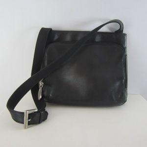 J. Jill Black Leather Shoulder Organizer Bag